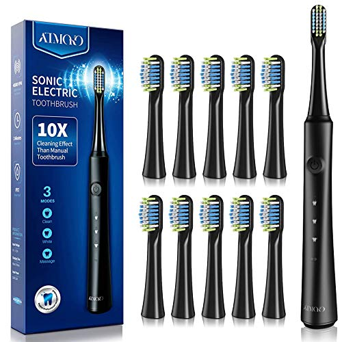 ATMOKO Electric Toothbrushes with 10 Duponts Brush Heads 40000 VPM Fast Charge 25 H Last 35 Days Rechargeable Power Clean Sonic Toothbrush Adults
