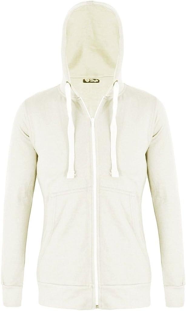 RM Fashions Womens Plain Hoodie Hooded Zip Zipper Top Sweat Shirt Jacket Sweater Hoodie