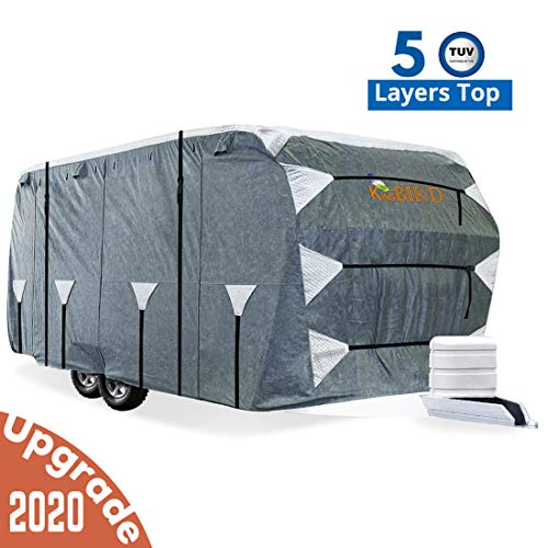 KING BIRD Upgraded Travel Trailer RV Cover, Extra-Thick 5 Layers Anti-UV Top Panel, Deluxe Camper Cover, Fits 20'- 22' RV Cover -Breathable, Water-Repellent, Rip-Stop with 2Pcs Straps & 4 Tire Covers