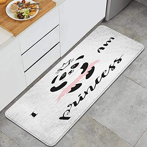LISNIANY Küchenfußmatten Küche Bodenmatte Komfort,Lustige Ballerina Panda Bärentanz in rosa Rock Baby Kids,rutschfeste Küche Teppiche Indoor Outdoor