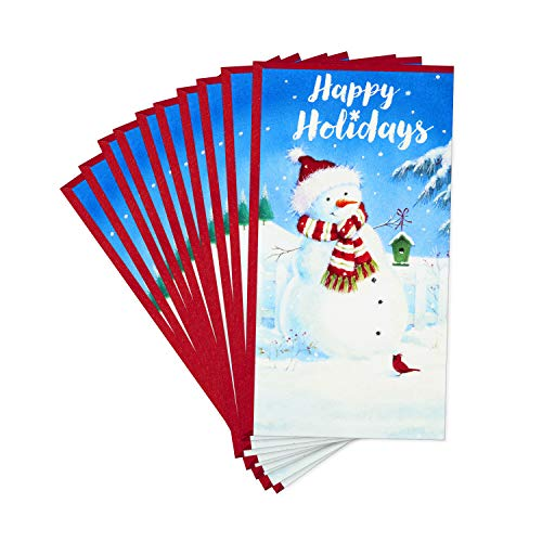 Hallmark Pack of Christmas Money or Gift Card Holders, Festive Snowman (10 Cards with Envelopes)