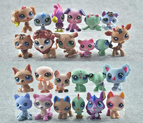 fyb 24pcs / Set Mini Little Animal Dolls Rare Pet Shop Figuras de acción Tiger Littlest Cat Dog Dachshund Collie Cat Patrulla Canina Toy, B -24pcs