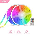 Parpadea Múltiples Colores al Mismo Tiempo, DreamColor Tira LED Música, TASMOR 10M Multicolor LED Tira Impermeable con Arco Iris Color IP65 Dreamcolor LED Strip