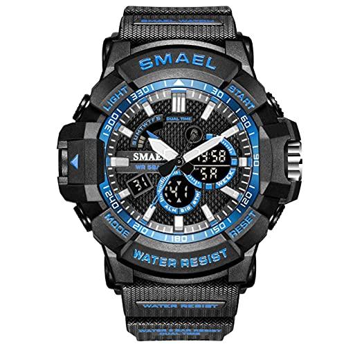 JTTM Orologi Militari Uomo, Orologio da Uomo Analogico E Digitale, Orologio Sportivo, Impermeabile Orologio LED con Cronometro LED Digitale Orologio Luxury Casual Wristwatch,Black Blue