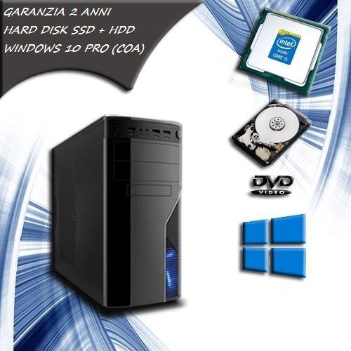 Computer fisso INTEL CORE i5 QUAD CORE pc desktop SSD 120 HDD 1 TB RAM 8 GB WINDOWS 10 PRO COA STICKER - WiFi - ALTE PRESTAZIONI SISTEMA OPERATIVO COM