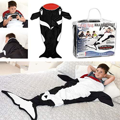 Snug Rug Couverture en Polaire de qualité Ultra Douce en Forme de Queue de Baleine - Jusqu'à 1,5 m de Haut, Polyester, Noir et Blanc, 61 x 5 x 142 cm