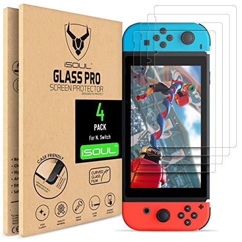 iSOUL Panzerglas Schutzfolie for für Nintendo Switch Hartglas Glas Film 9H Härte, [4er Pack] [6.2-Zoll-Tablet-Konsole] [Bruchsicher] [Kratzfest] [Blase Frei] Bildschirmschutz