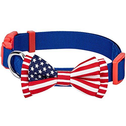 Blueberry Pet Nationalstolz Klassische Handgefertigte Amerikanische Flagge Fliege Hundehalsband in Blau, M, Hals 37cm-50cm