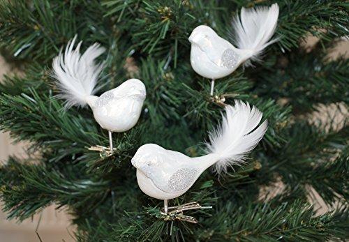 """3 tlg. Glas Vogel Set in \""""Hochglanz-Weiss-Silber\"""" - Neuheit - Christbaumkugeln - Weihnachtsschmuck-Christbaumschmuck"""