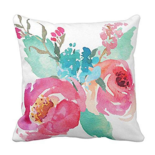 Emvency Throw Pillow Cover Flowers Watercolor Peonies Pink Turquoise Summer Girly Decorative Pillow Case Home Decor Square 16 x 16 Inch Pillowcase