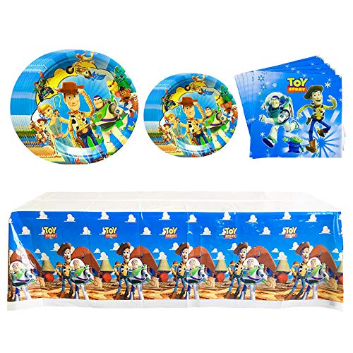 Teekilop Toy Story Party Supplies Table ware Napkins, Plates, Tablecover, Great for Kids Birthday Party, Animated Theme, Pixar & Disney Celebration Party Decoration (Serves 20 Guests)