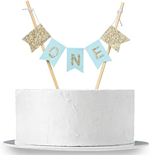 "INNORU Handmade ""ONE"" Birthday Cake Topper - 1st First Birthday Cake Bunting for Baby Boy Party Supplies"