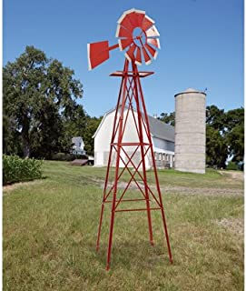 8ft. Ornamental Garden Windmill, Red and White