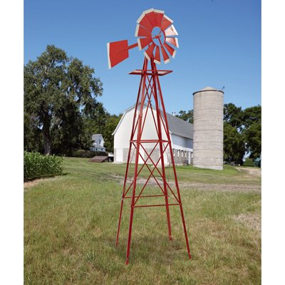 Kotulas 8ft. Ornamental Garden Windmill, Red and White