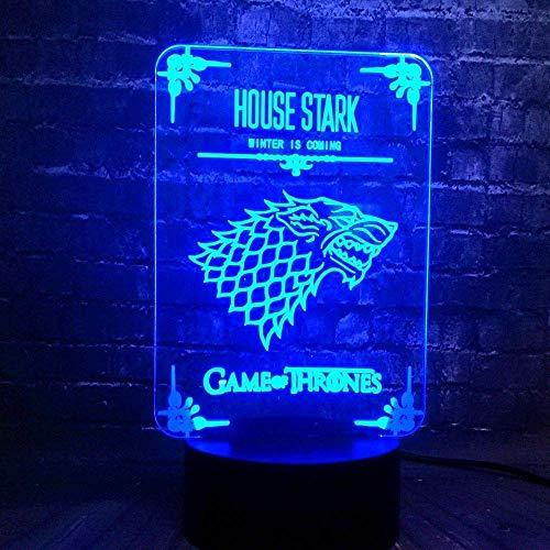 3D Illusion Night Light 7 colores Led Vision Game of Thrones Wolf House Stark Logo Carga USB Decoración Habitación Luna Lava Vacaciones Novios Diversión Única Colorido Regalo creativo Control rem