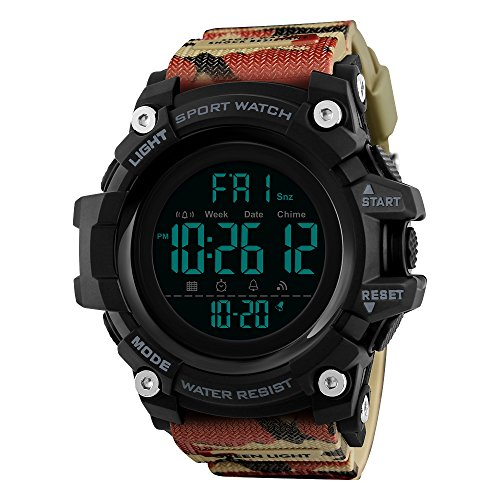 Mettime Reloj de Hombre, multifunción, 50 m, Resistente al Agua, brújula, dial Grande, Reloj Despertador, cronómetro, Deportes al Aire Libre, Reloj Digital, Color Rojo y marrón