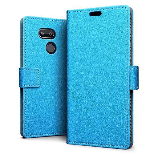 SLEO Hülle für HTC Desire 12s,PU Leder Case Cover Tasche Schutzhülle Flip Case Wallet im Bookstyle für HTC Desire 12s Hülle- Blau