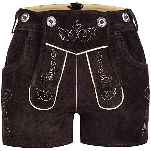 Gaudi-Leathers Damen GL2310 Trachten Lederhose, Braun (Dunkelbraun 015), W35 (Herstellergröße: 40)