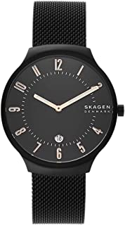Skagen Grenen Stainless Steel Quartz Three-Hand Date Watch With Leather or Steel Mesh Strap