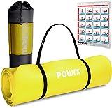 POWRX Gymnastikmatte Premium inkl. Trageband + Tasche + Übungsposter GRATIS I Hautfreundliche Fitnessmatte Phthalatfrei 190 x 60, 80 oder 100 x 1.5 cm I versch. Farben Yogamatte (Gelb, 190 x 60 x 1.5 cm)