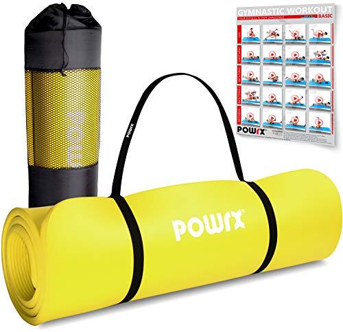 POWRX Gymnastikmatte I Yoga-Matte inkl. Trageband + Tasche + GRATIS Übungsposter I Hautfreundliche Sportmatte Fitnessmatte rutschfest Phthalatfrei 190 x 60, 80 oder 100 x 1.5 cm I versch. Farben Turnmatte für Zuhause (Gelb, 190 x 60 x 1.5 cm)