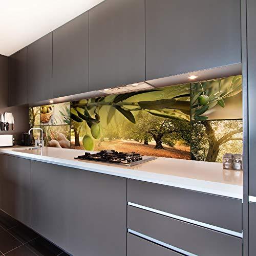 wandmotiv24 Küchenrückwand Oliven Baum Plantage Grün Hände Ernte 260 x 60cm (B x H) - Aluminium 3mm Nischenrückwand Spritzschutz Fliesenspiegel-Ersatz M1207
