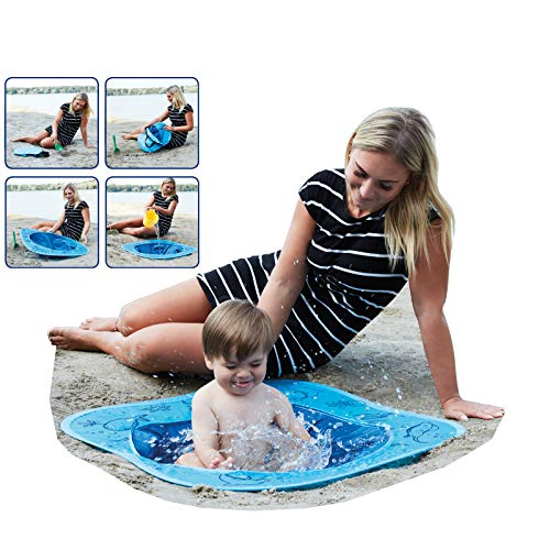 Smart Planet® Pop-Up Strand Pool für Kleinkinder - 80 x 80 x 15 cm Planschbecken für Kinder zum Spielen im Sand Strand