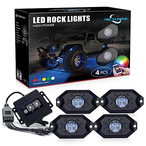 MICTUNING 2nd-Gen RGB LED Rock Lights with Bluetooth Controller, Timing Function, Music Mode - 4 Pods Multicolor Neon LED Light Kit
