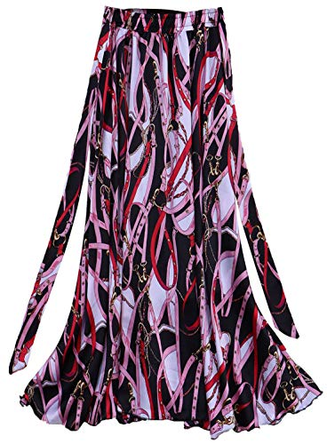 Antjoint Half Skirt A Line Long Casual Polka Dot Palm Flower Printed Drawstring Elastic Waist Slim Skirt w/Pocket (Z Belt #21 Black Pink Chain)