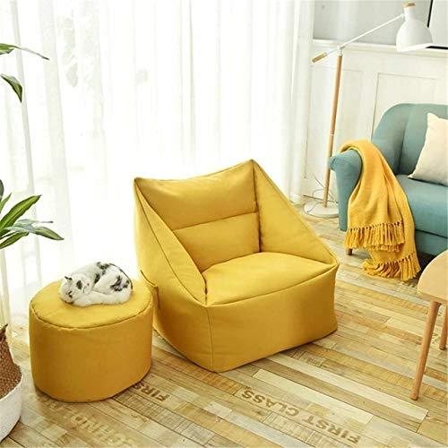 YTG Lazy Asiento del sofá Cubierta a Prueba de Agua Cubierta de la Silla puf Lazybag Soplo Grande Sofás Puf Sillón Cubierta Lavable Juego Acogedor (Color : Yellow)