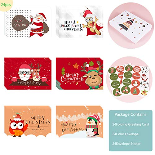 24 pezzi Biglietto Auguri Natale con Buste e Adesivi da Busta,Cartoline di Natale Nota Vuota Carta,Pacco Cartoline di Natale,Natale Inviti Lettera,Biglietti Natalizi Vintage (Cartoons)