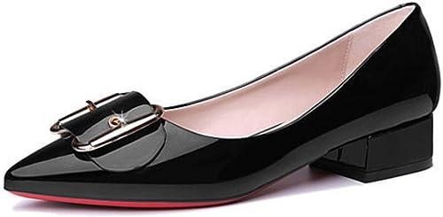 DKFJKI Escarpins pour Femmes Chaussures Chaussures à Talons Pointus Boutons Carrés Sleek Décontracté  Style classique