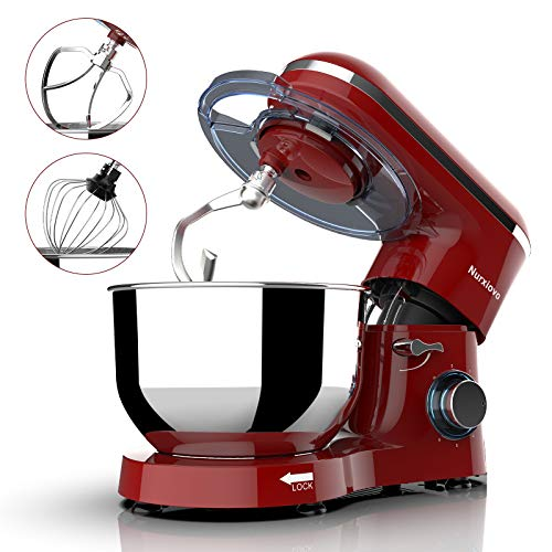 Nurxiovo 6.5QT Stand Mixer 660W Dough Hook Whisk Beater 6-Speed Electric Mixer Kitchen Tilt-Head Food Mixer with Stainless Steel Bowl (Red)