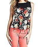 Guess SL Stella Top, T-Shirt Donna, (Flower Power Blk Com Pc49), XSmall (Taglia Produttore:XS)