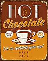 ホットチョコレートヴィンテージスタイルメタルサインアイアン絵画屋内 & 屋外ホームバーコーヒーキッチン壁の装飾 8 × 12 インチ
