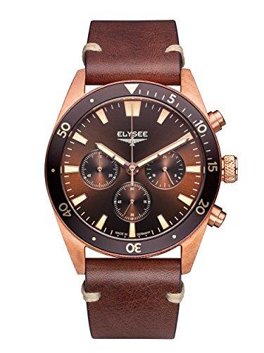 Elysee Bronze Herren Armbanduhr 98016 Sonnenschliff Chronograph