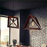 Nordic legno lampada a sospensione ristorante negozio di abbigliamento Café personalità creativa triangolo Rovere Vintage lampadario elegante semplice lampada a sospensione E27max 40W Ø42cm