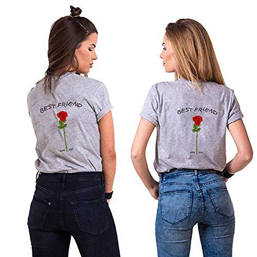 Best Friends Sister Tshirt für Zwei Damen Freund Shirts mit Rose Tops Sommer Oberteil BFF Geburtstagsgeschenk 1 Stücke Symbolische Freundschaft (XXL,Grau)