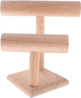 【ノーブランド品】 2層 木製 Tバー ジュエリー ブレスレット 時計 バングル ディスプレイ ホルダー スタンド