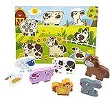 RB&G Holzpuzzle mit großen Teilen - Safaritiere Puzzle für Kinder ab 1 Jahr Hase & Co.