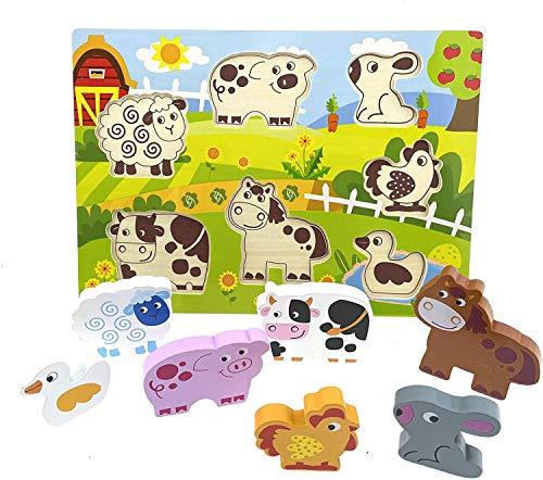 Puzzle de madera con grandes piezas – Puzzle de animales de safari, para niños a partir de 1 año conejo & Co