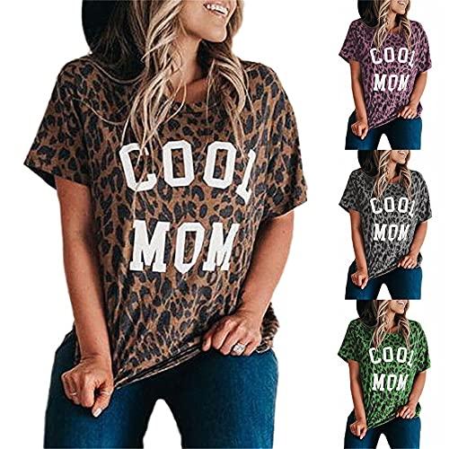 Tops Mujer Chic Estampado De Leopardo Estampado De Letras Cuello Redondo Manga Corta Verano Moda Casual Suelto Cómodo Mujer Blusa Mujer Camiseta A-Brown XXL