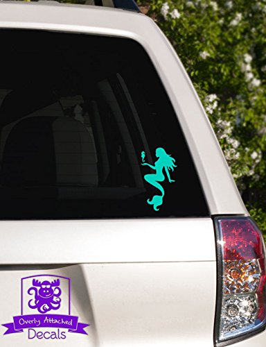 Overly Attached Decals Mermaid with Seahorse Vinyl Car Decal - 4' Mint