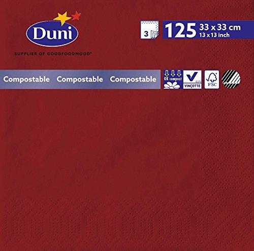Duni 2732 3 plis Serviettes en papier, 33 cm x 33 cm, Bordeaux (lot de 1000)
