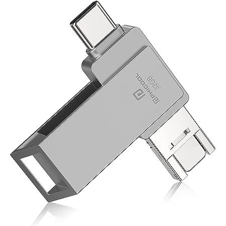 【2021 日本限定】4in1 Phone用 usbメモリー ipad pro/ipad air対応Android PC 人気 USB 両面挿し スマホ USB メモリー USBフラッシュドライブ Android パソコン対応 USBメモリ OTG Android USB 容量不足解消 亜鉛合金(32GB, グレー)