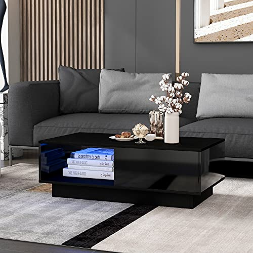 Gona Couchtisch mit LED-Licht, moderner Hochglanz-Sofatisch, rechteckiger schwarz Wohnzimmertisch, Haushaltsdekoration (99 x 55 x 32 cm)