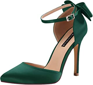 Women High Heel Bow Ankle Strap Evening Party Dance Wedding Satin Shoes