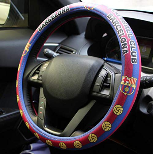 Carmen Football Team Auto Car Steering Wheel Cover Barcelona Manchester United NBA Bull Fans Sport Style Universal 15 Inch Wheel Cushion Protector 38cm (Barcelona01)
