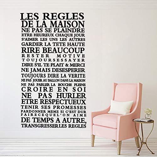 mlpnko Französische Hausregeln Vinyl Wandaufkleber Hauptdekoration lachen viele Haupthaus Tapetenkunst Wandaufkleber,CJX12730-55x96cm