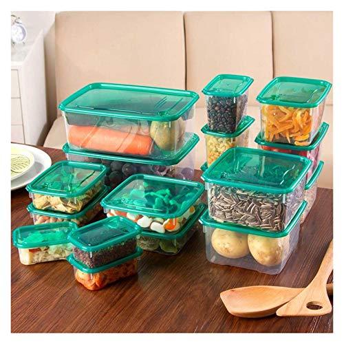 FEGSX Juego de 17 recipientes de cocina de plástico transparente para microondas, horno, frigorífico, sellado de alimentos, caja de almacenamiento de alimentos 0414 (color 17 piezas)